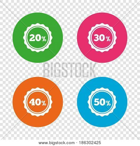 Sale discount icons. Special offer stamp price signs. 20, 30, 40 and 50 percent off reduction symbols. Round buttons on transparent background. Vector