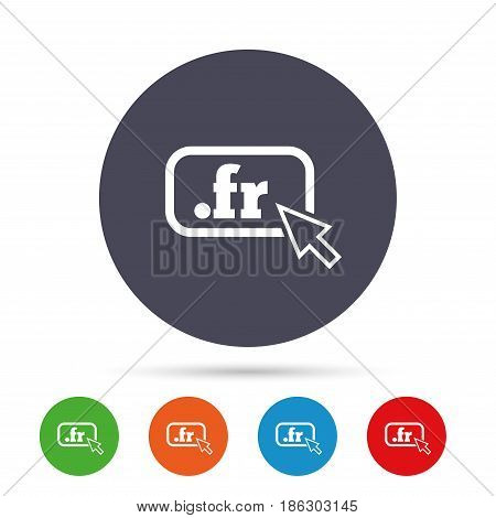 Domain FR sign icon. Top-level internet domain symbol with cursor pointer. Round colourful buttons with flat icons. Vector