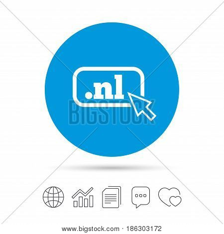 Domain NL sign icon. Top-level internet domain symbol with cursor pointer. Copy files, chat speech bubble and chart web icons. Vector
