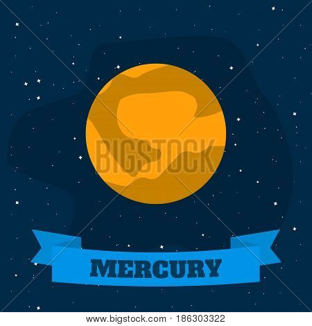 Mercury on a background of open space. Vector illustration in flat style
