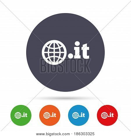 Domain IT sign icon. Top-level internet domain symbol with globe. Round colourful buttons with flat icons. Vector