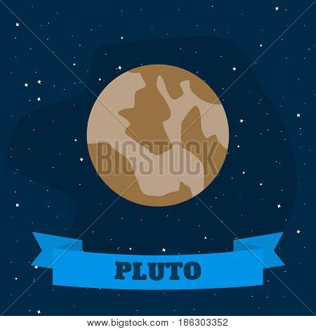 Pluto on a background of open space. Vector illustration in flat style