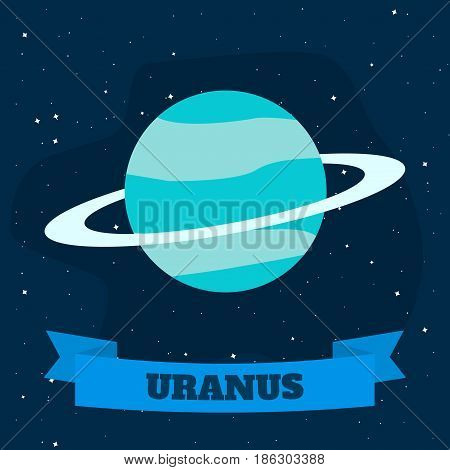 Uranus on a background of open space. Vector illustration in flat style