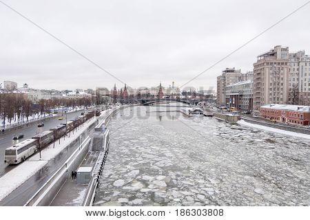 Moscow, Russia. 18 December 2016 : View Of Building Along Frozen Moskva River And The City Of Moscow