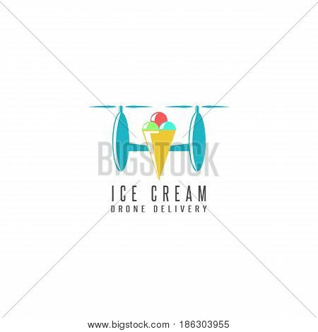 Ice cream cone delivery drone logo flat style flying copter with poke sweet balls. The startup concept of an ice cream delivery company emblem mockup.