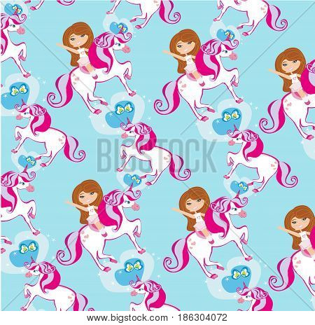 seamless pattern with Girl on a unicorn , vector illustration