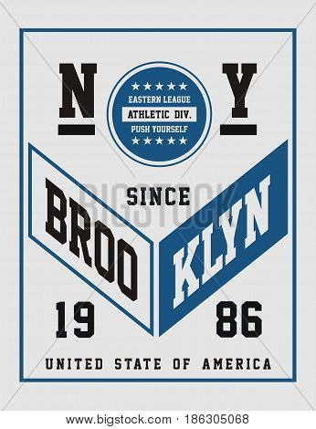 New York Brooklyn United State Of America, Vector Image