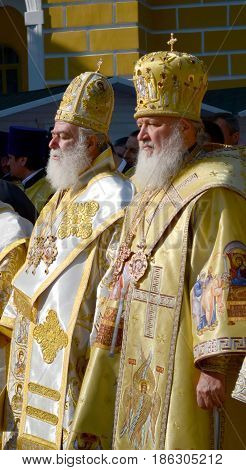 Kiev, Ukraine, celebration liturgy in honor of the baptism of Rus in Kiev Pechersk Lavra - 27 July 2013 -: Patriarch Kirill and the other bishops on the service in Kiev, in the Kiev Pechersk Lavra