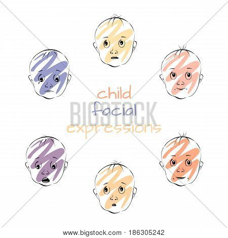 Child facial expressions set of baby heads with different emotions vector illustration