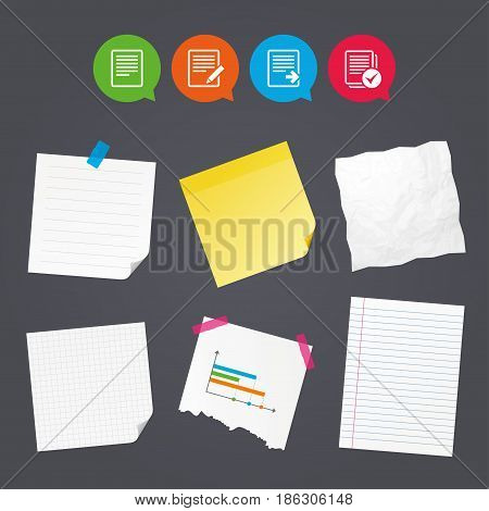 Business paper banners with notes. File document icons. Download file symbol. Edit content with pencil sign. Select file with checkbox. Sticky colorful tape. Speech bubbles with icons. Vector