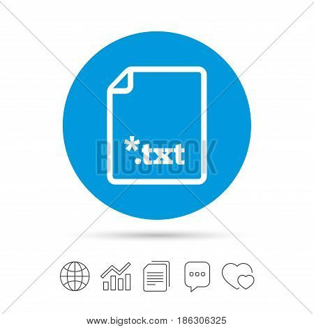 Text file icon. Download txt doc button. Txt file extension symbol. Copy files, chat speech bubble and chart web icons. Vector
