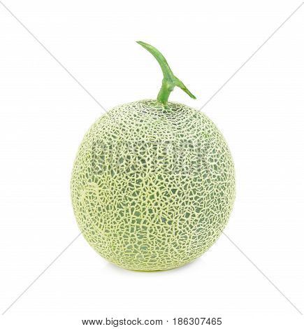 Ripe cantaloupe melon on white background. melon fruit