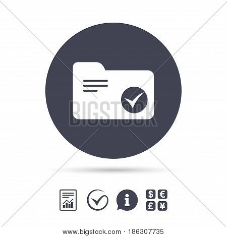 Select document folder sign. Accounting binder symbol. Bookkeeping management. Report document, information and check tick icons. Currency exchange. Vector