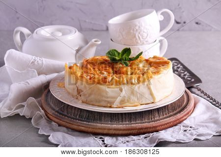 Filo pastry pie served on a plate