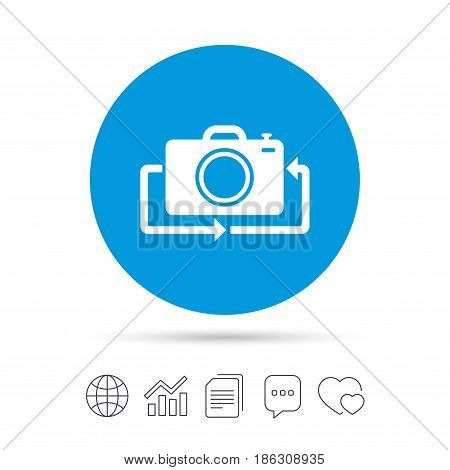 Front photo camera sign icon. Digital photo camera symbol. Change front to back. Copy files, chat speech bubble and chart web icons. Vector