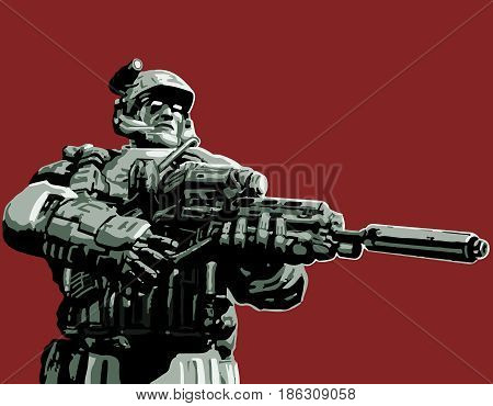 The soldier in the suit with a plasma rifle. Vector illustration. Science fiction original character the soldier of the future.