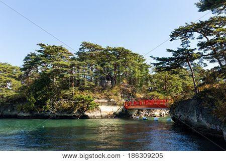 Matsushima bay and red bridge