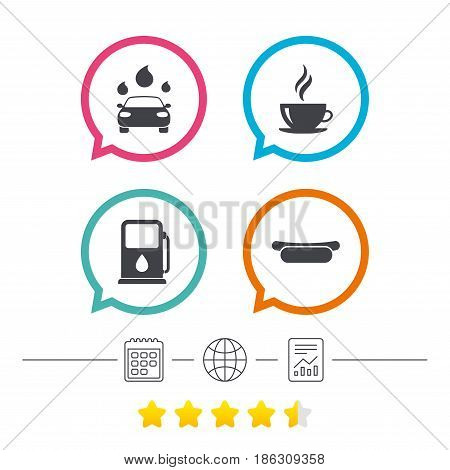 Petrol or Gas station services icons. Automated car wash signs. Hotdog sandwich and hot coffee cup symbols. Calendar, internet globe and report linear icons. Star vote ranking. Vector
