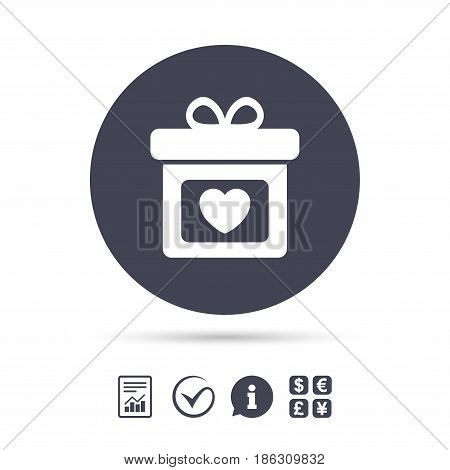 Gift box sign icon. Present with heart love symbol. Report document, information and check tick icons. Currency exchange. Vector