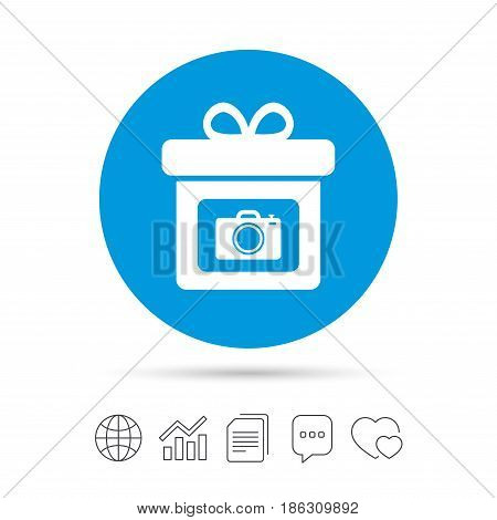 Gift box sign icon. Present with photo camera symbol. Copy files, chat speech bubble and chart web icons. Vector