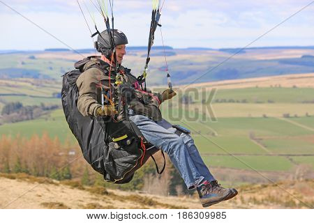 Paraglider in the Brecon Beacons in Wales