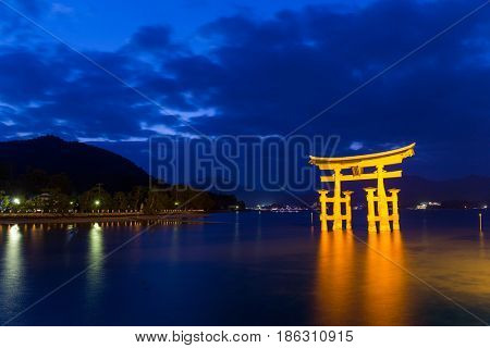 Itsukushima shine of Hiroshima Bay at night