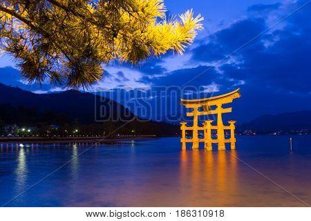 Itsukushima Shrine at evening