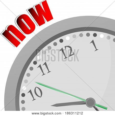 Text Now. Time Concept . Color Word And Modern Clock On White