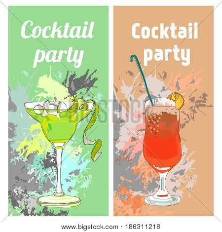 Summer cocktail party vertical banners with glasses of fresh beverages on colorful grungy background vector illustration