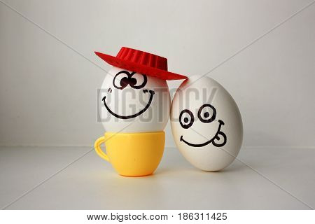 An Egg With A Face. Funny And Sweet. Sad In The Hat