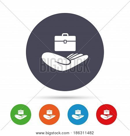 Baggage insurance sign icon. Hand holds travel luggage. Protection from loss of baggage. Round colourful buttons with flat icons. Vector