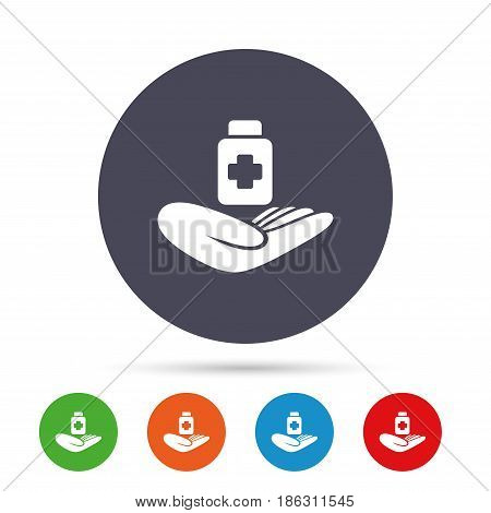 Medical insurance sign icon. Health insurance. Drugs or pills bottle. Round colourful buttons with flat icons. Vector