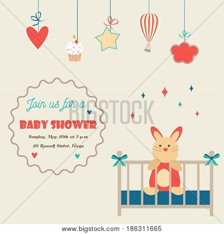 Baby shower invitation card with little rabbit in baby cot