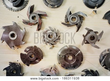 Background - nozzles on a circular saw close-up