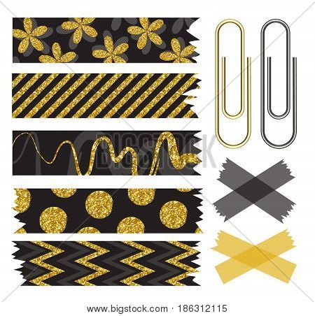 Set of beautiful washi tape with gold sequins and paper clips