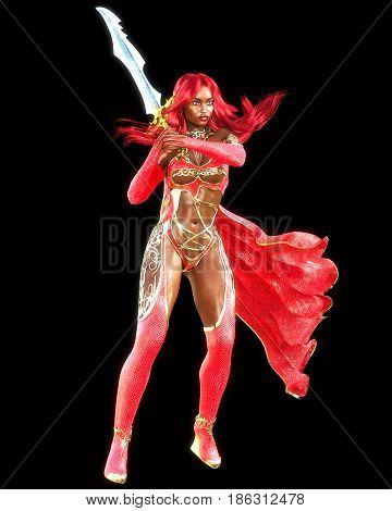 Young beautiful 3D woman warrior red sexy dress snakeskin.Redhead bright makeup holding powerful sword.Girl standing candid provocative aggressive pose. Rendering isolate illustration.