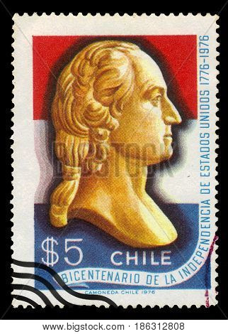 CHILE - CIRCA 1976: a stamp printed in the Chile shows bust of George Washington (1732-1799), first president of the USA, bicentennial of the independence, circa 1976