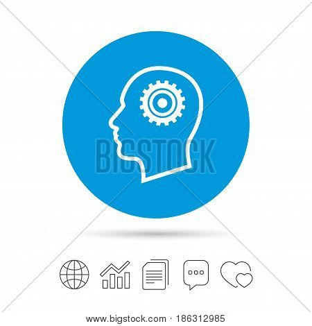 Head with gear sign icon. Male human head symbol. Copy files, chat speech bubble and chart web icons. Vector