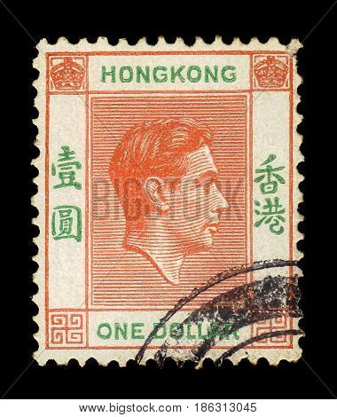 Hong Kong - CIRCA 1946: A stamp printed in Hong Kong shows portrait of King George VI, series, circa 1946