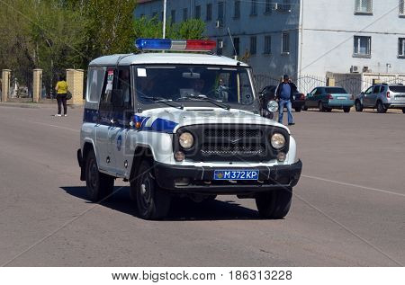 Kazakhstan police car during  parade.V-day celebration.Sary Shagan.Former Soviet  anti-ballistic missile testing range.Kazakhstan.May 9, 2017.Priozersk.Kazakhstan