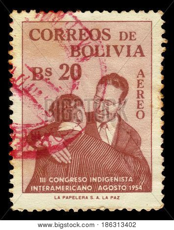 Bolivia  - CIRCA 1954: A stamp printed in Bolivia  shows native bolivians, congress of the natives, circa 1954