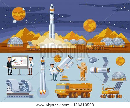 Space research concept with rocket launch truck lunar rover station scientists telescope planets satellite vector illustration