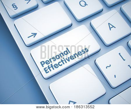 Service Concept with Metallic Enter Key on Keyboard: Personal Effectiveness. Personal Effectiveness Written on the Keypad of White Keyboard. 3D Render.