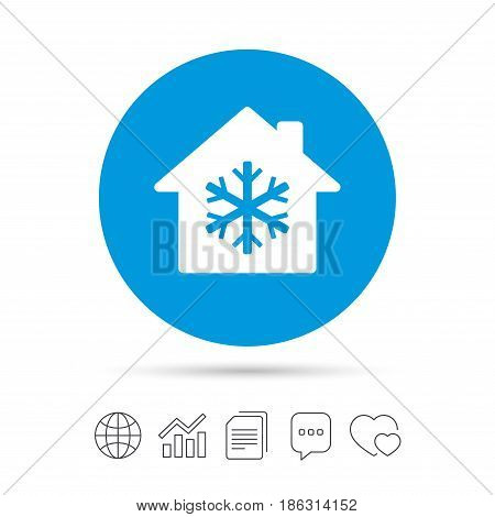 Air conditioning indoors icon. Snowflake sign. Copy files, chat speech bubble and chart web icons. Vector