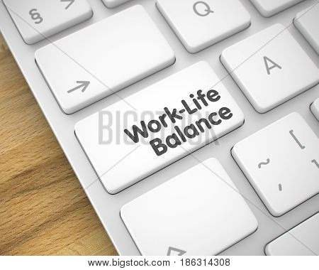 Business Concept with Modern Laptop Enter White Keypad on Keyboard: Work-Life Balance. Text on the Keyboard Enter Keypad, for Work-Life Balance Concept. 3D Render.