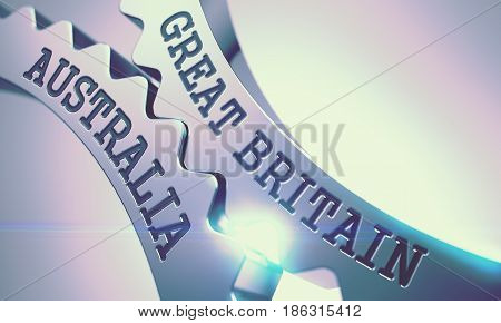 Great Britain Australia on Mechanism of Metal Gears. Communication Concept in Technical Design. Text Great Britain Australia on the Shiny Metal Cogwheels - Enterprises Concept. 3D .