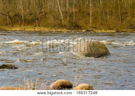 Russia. The Leningrad Region. Losevo. Vuoksa river with river rapids