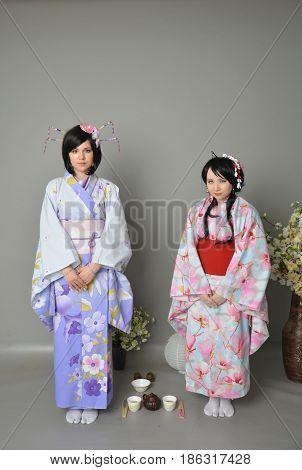 A Girls In A Yukata Tea Ceremony