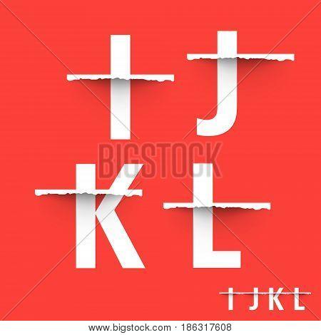 Alphabet font template. Set of letters I J K L logo or icon. Vector illustration.