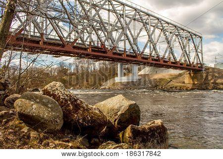 Russia. The Leningrad Region. Losevo. Bridge over the river Vuoksa with river rapids